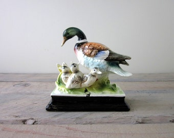 Vintage Porcelain Duck Family Figurine