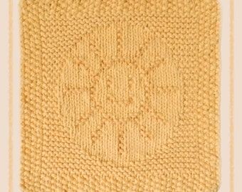 hand knit dishcloth, sun, sunshine, 100% cotton, gold, yellow, knit dish cloth, knitted washcloth, wash cloth, dish cloth, knitted dishcloth