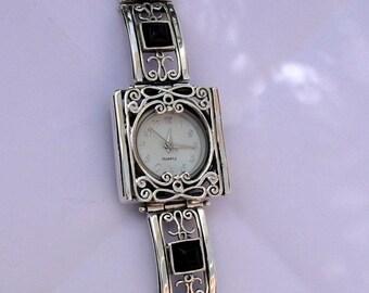 NEW Onyx Silver Watch, Israel Original Handmade Fine Silver Filigree Onyx Bracelet Watch, Jewelry Watch, Israel Jewelry (s w3905)