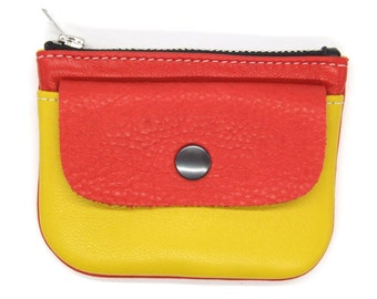Bright red and yellow leather zip purse