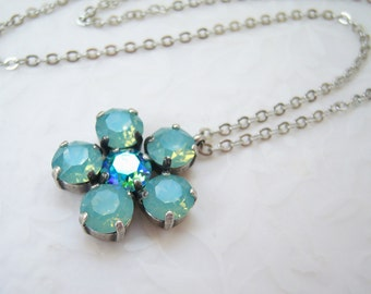 Swarovski pacific opal flower petal crystal necklace, pacific opal mixed crystal set in antiqued silver plated setting-SW604