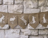 Easter Banner, Happy Easter, Natural Burlap, Shabby Chic Decoration, Easter Bunting, Easter Garland, Easter Decor, Bunnies & Eggs, Signs