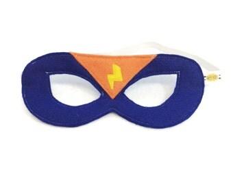 Premium BLUE and ORANGE Superhero MASK  - Superhero accessory to match Personalized Super Hero Cape - ready to ship*Cyber Monday*