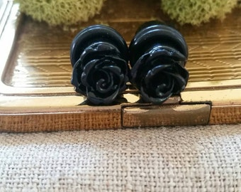 Flower Plugs, Wedding Gauges, Black, Roses