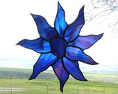 Blue and Iridescent Stained Glass Suncatcher - Sunflower - Handmade Glass Decor - Artglass