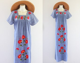 embroidered chambray mexican folk dress