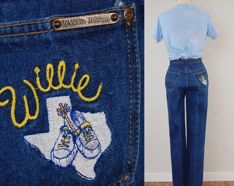 RARE Vintage 70s WILLIE NELSON jeans / High waist dark denim jeans / Country western jeans / 24 1/2 waist 32 inseam