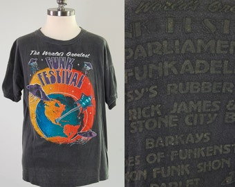 RARE Vintage 70s Worlds Greatest FUNK FESTIVAL concert t shirt / Ultra soft worn in / Parliament Bootsy Collins Barkays Rick James and more