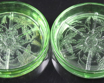 Set of Two Floral Poinsettia Green Coasters