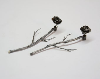 silver ear jackets, sterling silver rhodium plated rose earrings,rhodium plated branches earrings,silver ear jackets,silver rose ear studs