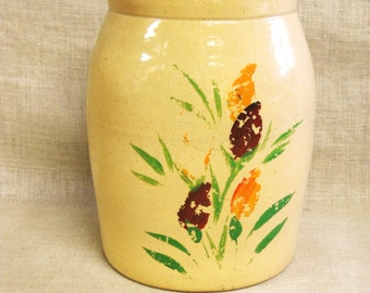 Antique Crock, Hand Painted, Crockware, Storage, Primitive Pottery, Ceramic, Kitchen, Spoon Holder, Flowers, Floral, Cream, USA, Tall