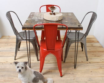 Reclaimed wood kitchen dining table midcentury modern legs