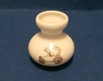 Miniature Vintage Auto Old Automobile Tiny Vase Gold Trimmed