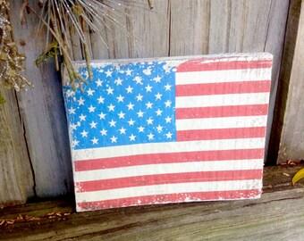 American Flag Rustic wood sign