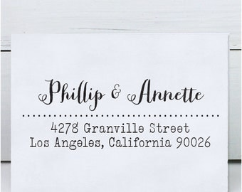 Custom Address Stamp, Calligraphy Stamp, Wedding Stamp, Eco Mount Rubber Address Stamp - Granville