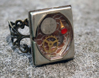 SALE Watch Back with Gears and Battery- Steampunk Rings