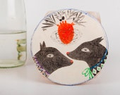Dog Lover Gift, Love Drawing, Original Pencil Illustration,Valentine's Day, Air Dry Clay Wall Decoration, Ornament, Hanging Sculpture, Art