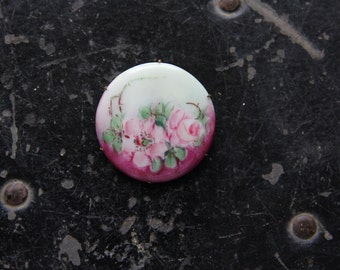 Antique hand painted floral round ceramic pin