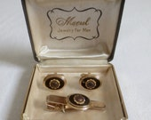Handsome Vintage 3pc MARVEL American Legion Cuff Links & Tie Bar Set in Original Gift Box-Black and Gold