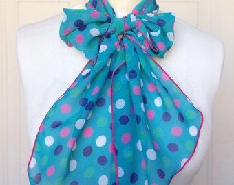Multi Use Chiffon Hair Scarf - Aqua and Multi Color Polka Dot