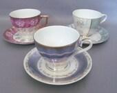 Vintage Set of 3 Lusterware Teacups and Saucers Periwinkle, Mint, Magenta