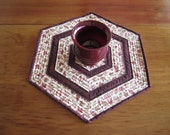 """Quilted Table Topper """"Autumn"""" Hexagonal Table Runner, Dining Table Decor, Quiltsy Handmade"""