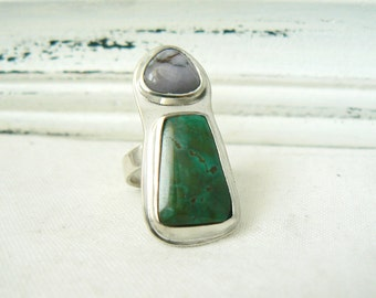 Sterling Silver Ring with Turquoise and Jasper Gemstone - Jewelry 925 - Size 5.25