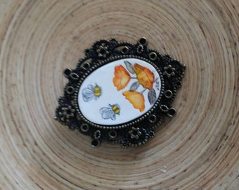 Scrimshaw Brooch Pin Lovely Bumblebees and Yellow Orange Flowers OOAK Great Gift Idea
