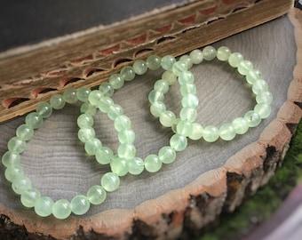 Prehnite gemstone beaded bracelet, heart chakra, gemstone bracelet