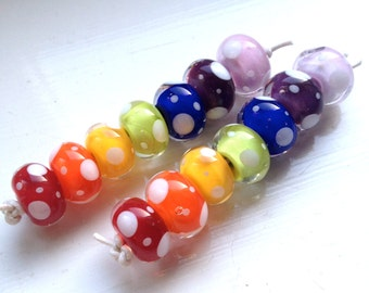 Rainbow Brite Lampwork Beads (7), UK Seller, SRA
