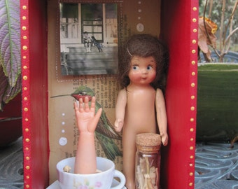 Creepy dolly assemblage, mixed media shadow box, found object art
