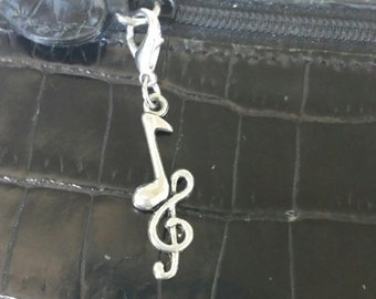 Double music note zipper pull, purse pull,  charm