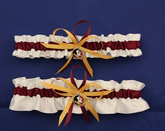 Wedding Garter Set with Florida State University Colors