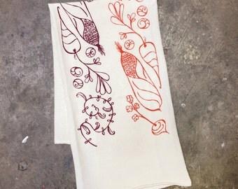 Garden Veggie: Flour Sack Tea Towel - screenprint