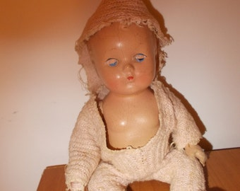 Small Vintage Antique Composition Doll- Looks Old 9inche Doll Movable Arms and Legs
