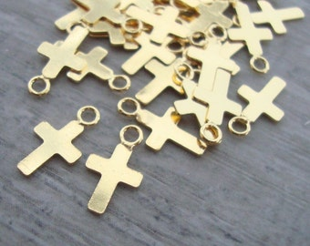 18k Gold over Sterling Silver Small Tiny Cross, 10x6mm, 10 pcs,PC-0097
