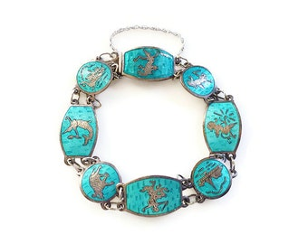 Siam Sterling Bracelet, Silver Enamel Bracelet, Thai God Goddess, Aqua Turquoise, Vintage Jewelry