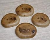 """4 Handmade  oak wood buttons, accessories (1,85"""" diameter x 0,28"""" thick)"""