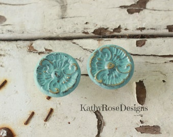 Brass knobs shabby chic vintage french provincial kitchen, distressed teal pink white black seafoam green