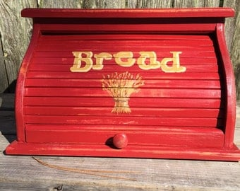 Bread box country red distressed with golden mustard wheat painted and lettering over top