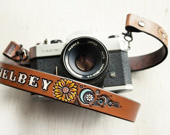 Custom Leather Camera Strap - Sunflower, Daisy, Crescent Moon - Personalized Floral - Handmade & Handpainted - Made to Order by Mesa Dreams