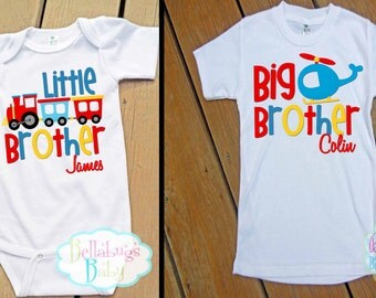 Big Brother Little Brother Train Plane Outfit - Bodysuit or Tshirt - Photo prop - Newborn - Personalized