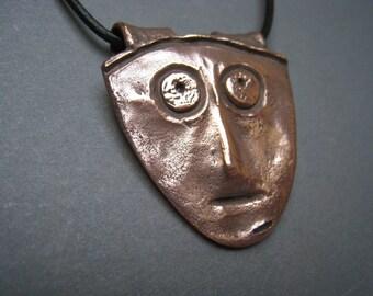 Mississippian Face Rustic Copper Pendant - Face Pendant - Face Necklace - Archaeology