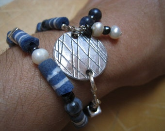 Oxidized Fine Silver Disk with Pearls and Blue Beaded Bracelet - Blue Bracelet - Stripe Bracelet