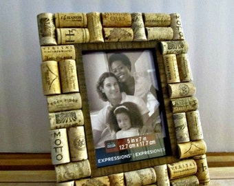 "ON SALE Rustic Wine Cork Picture Frame - 5"" x 7"" Photo Opening - Wedding, Vacation, Birthday, Anniversary, Family"