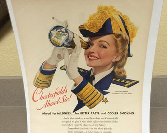 1941 Chesterfield cigarette ad large 11x15 approx. great graphics.