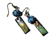 FALL SALE: Handmade Lampwork Bead Earrings, Blue and Purple, Enamel Bar Earrings, Dangle Earrings, Gypsy Bohemian,  Gift,  Christmas, Mother