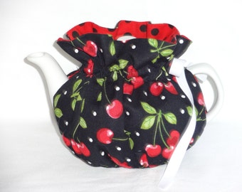 2 Cup Pretty Cherries on Black Reversbile Teapot Cozy