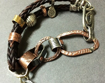 Link and Leather Wristwrap -:- Mixed metals bracelet. Leather. Rustic. Earthy.