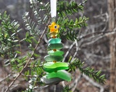Genuine Sea Glass Delightful Tree Ornament Holiday Package Decor Stocking Stuffer Odd Green Mix and Yellow Star Free Shipping Christmas Tree
